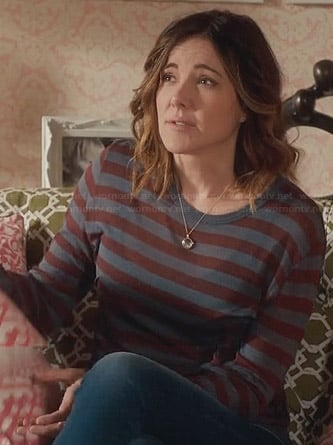Ellie's grey and burgundy striped long sleeve top on Cougar Town