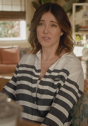 Ellie's white and navy graduated striped blouse on Cougar Town