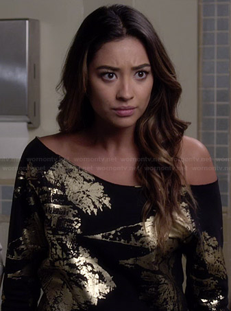 Emily's black and gold foil sweatshirt on Pretty Little Liars