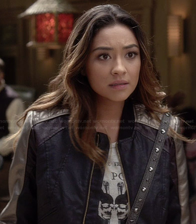 Emily's black jacket with silver sleeve stripes on PLL