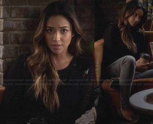 Emily's black knit sweater with leather shoulders and studded loafers on Pretty Little Liars