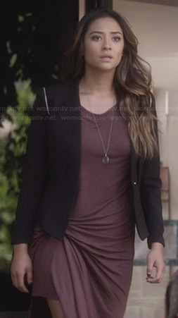 Emily's purple midi dress and black blazer on PLL