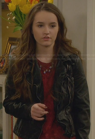 Eve's black leather jacket on Last Man Standing