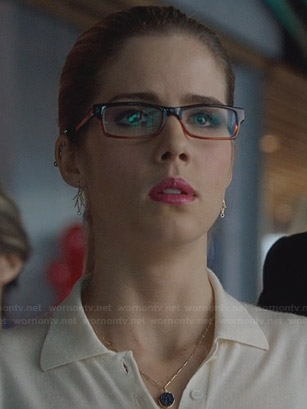 Felicity's white polo top and blue circle pendant necklace on Arrow