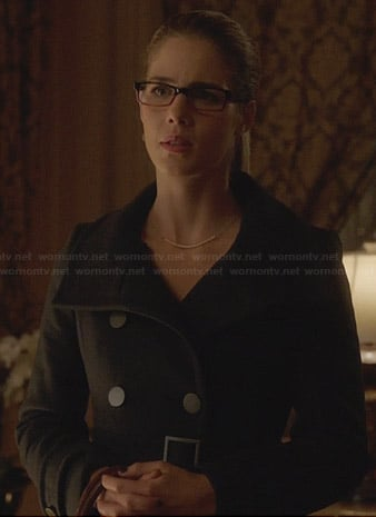 Felicity's navy trench coat on Arrow
