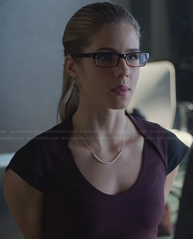 Felicity's purple capped sleeve peplum dress on Arrow