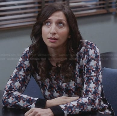 Gina's check patterned sweater on Brooklyn 99