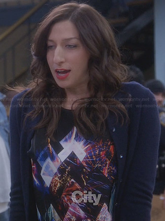 Gina's black digital print top on Brooklyn Nine-Nine