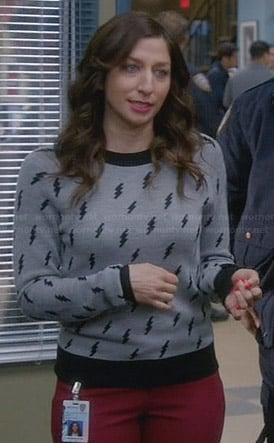 Gina's grey lightning bolt sweater on Brooklyn99