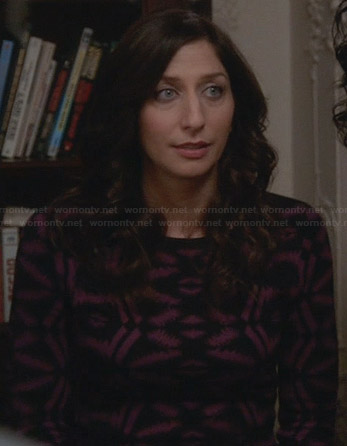 Gina's purple and black patterned sweater dress on Brooklyn 99