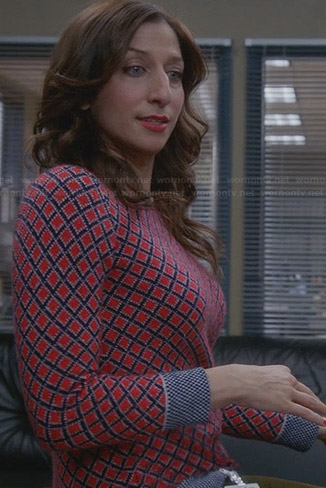 Gina's red diamond print sweater on Brooklyn 99