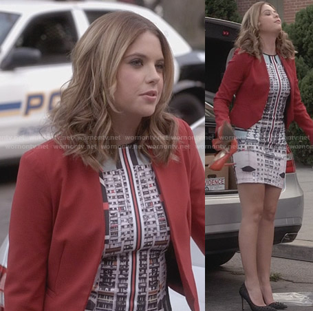 Hanna's orange and blue print and stripe dress on PLL