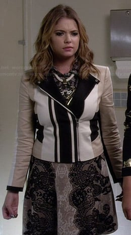 Hanna's biege, white and black jacket and lace skirt on Pretty Little Liars