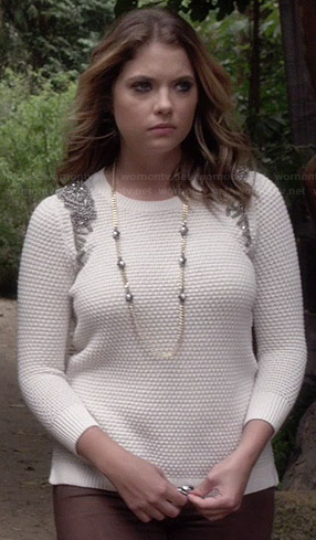 Hanna's white beaded shoulder sweater on Pretty Little Liars