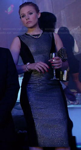 Jeannie's black rhinestone panel dress on House of Lies