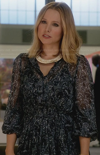 Jeannie's blue printed dress on House of Lies
