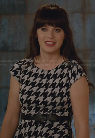 Jess's houndstooth dress and black bow belt on New Girl