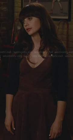 Jess's purple v-neck dress on New Girl