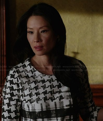 Joan's black and white houndstooth dress on Elementary