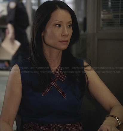 Joan's blue and red polka dot collar dress on Elementary