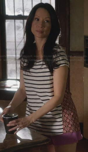 Joan's striped mixed print tshirt on Elementary