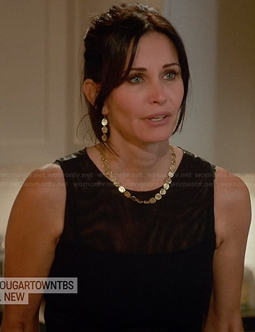 Jules's black dress with leather back on Cougar Town