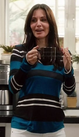 Jules's blue striped top on Cougar Town