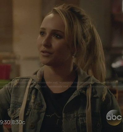 Juliette's denim hooded jacket and black graphic tee on Nashville