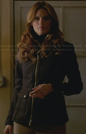 Kate's black zip up jacket with buttons on the back on Castle