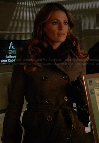Beckett's grey wool trench coat on Castle