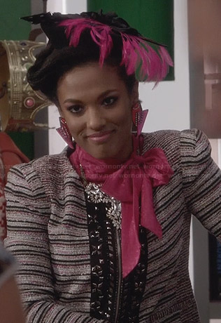 Larissa's tweed jacket with beaded trim on The Carrie Diaries