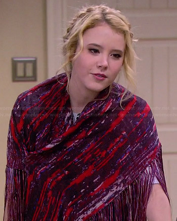 Lennox's red and purple printed fringed wrap scarf on Melissa and Joey