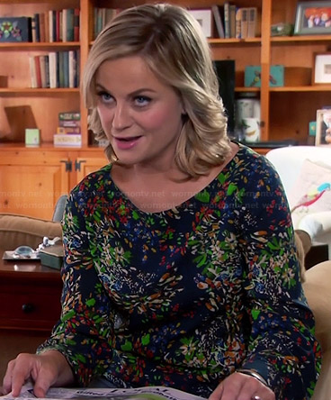 Leslie's blue and green floral printed blouse on Parks and Recreation