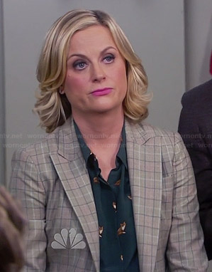 Leslie's green fox print top on Parks and Recreation
