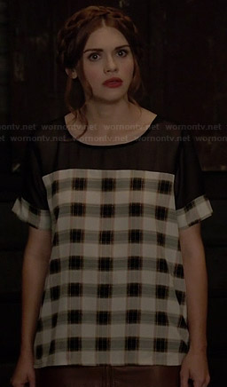 Lydia's plaid top with black mesh yoke on Teen Wolf