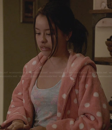 Mariana's peach polka dot bathrobe on The Fosters