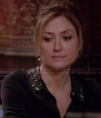 Maura's black blouse with metal collar on Rizzoli & Isles