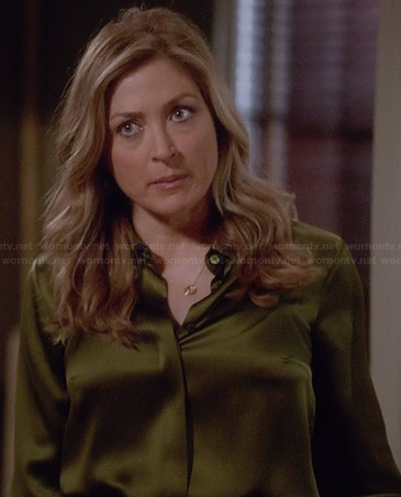 Maura's oliva green satin blouse on Rizzoli & Isles