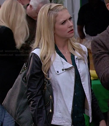 Mel's white denim jacket with leather sleeves on Melissa and Joey