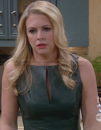Mel's green leather dress on Melissa & Joey