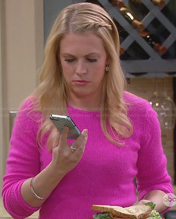 Mel's hot pink sweater on Melissa & Joey