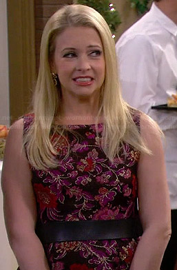 Mel's purple floral embroidery dress on Melissa & Joey