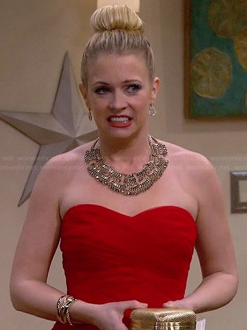 Mel's red strapless ball gown on Melissa and Joey