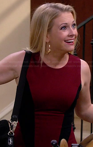 Mel's red and black side panel dress on Melissa and Joey