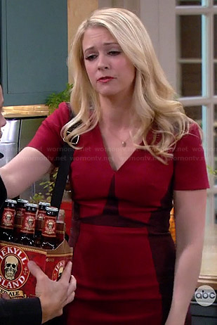 Mel's red colorblock side panel dress on Melissa & Joey