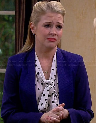Mel's black and white polka dot sequin top on Melissa & Joey