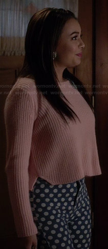 Mona's pink cropped sweater and polka dot jeans on Pretty Little Liars
