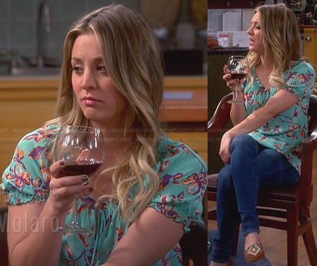 Penny's aqua green leaf print blouse and colorful flats on The Big Bang Theory