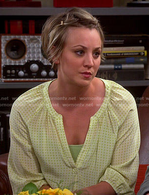 Penny's yellow dotted printed blouse on The Big Bang Theory