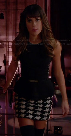 Rachel's black and white houndstooth skirt and layered peplum top on Glee